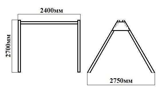 Размер рамы 2,4 м. Изображение.
